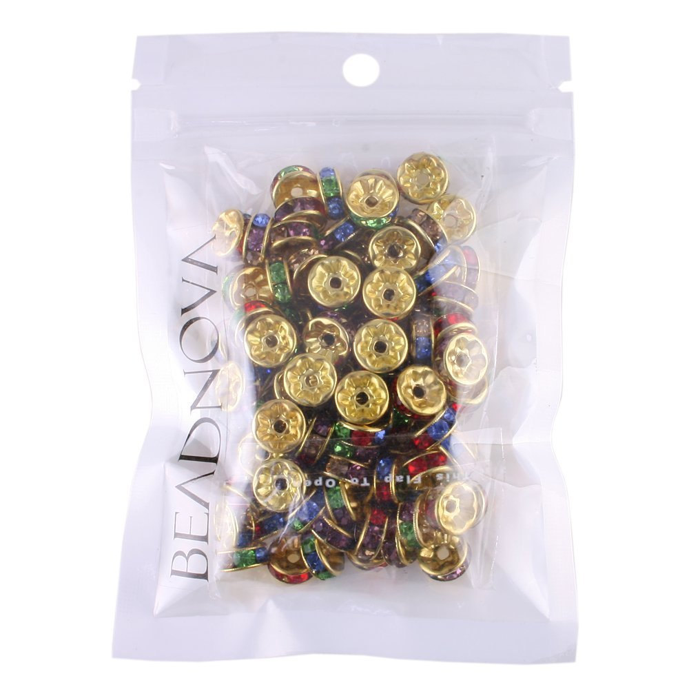 100 Pcs Gold Plated Crystal Rondelle Spacer Beads 10mm. Style - MIX Multicolor