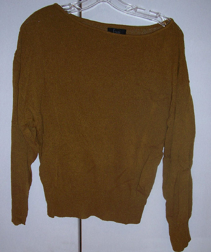 Frenchi Cinnamon Brown Slouchy Dolman Top Sweater Boatneck Sz Med EUC