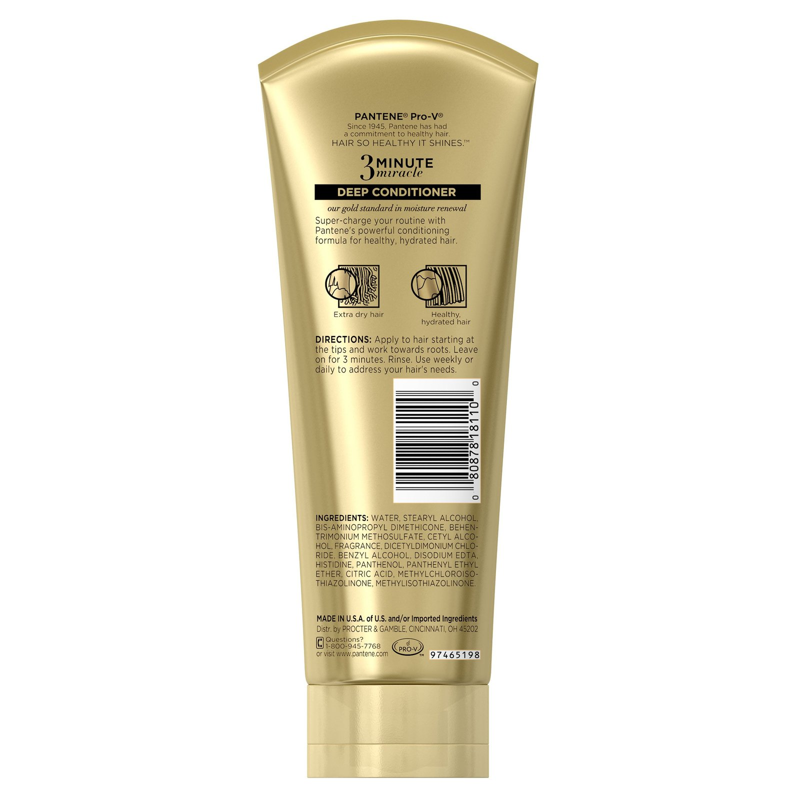 Pantene Moisture Renewal 3 Minute Miracle Deep Conditioner, 8 Fluid Ounce - Pack