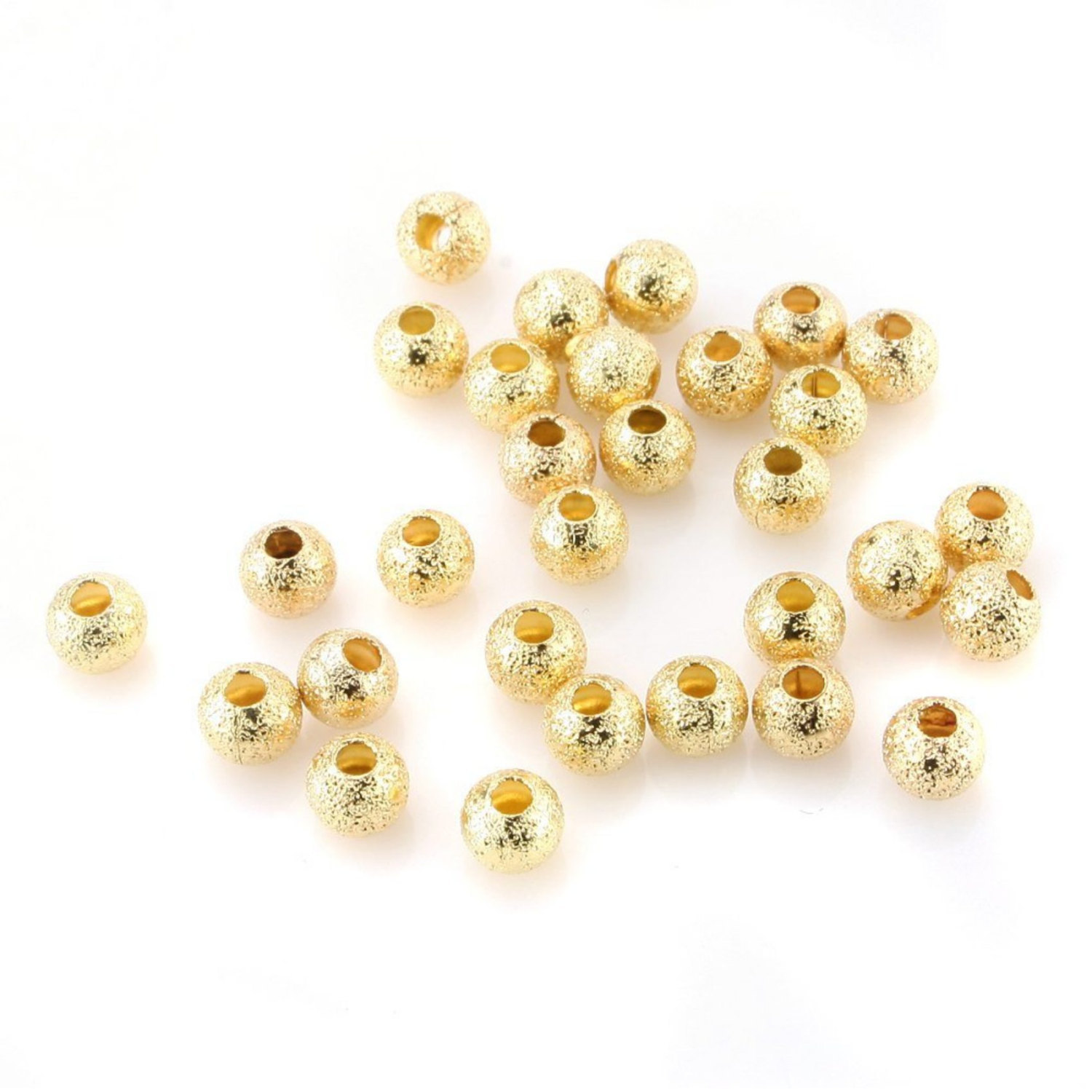 200 pcs Gold Plated Smooth Beads Stardust Sparkle Round Fashion Beads: Size 4mm,
