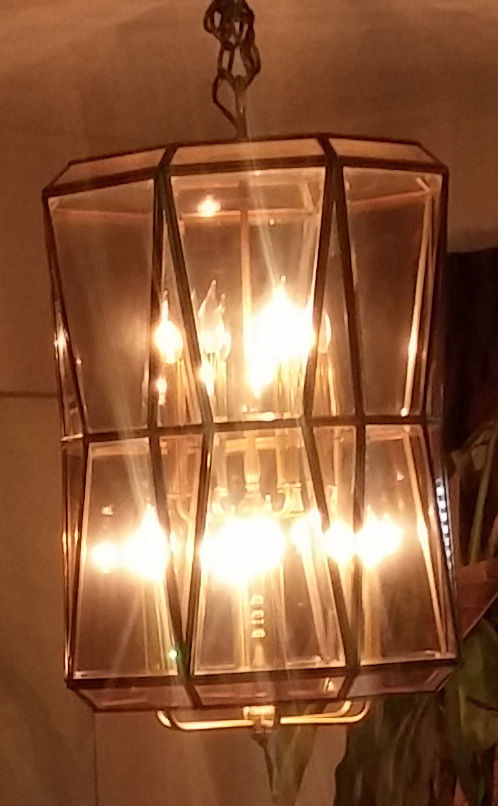 Vintage Ext Large Smoked Beveled Glass & Brass Foyer 12-light Chandelier