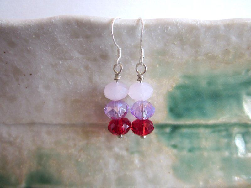 Handmade Rose Red Faceted Glass Crystal Triplet Sterling Silver earrings
