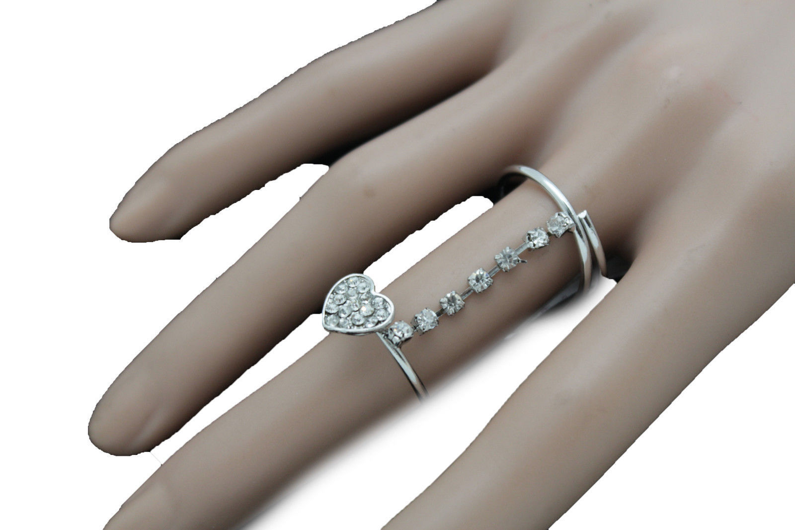 Women Silver Metal Fashion Jewelry Ring Long Finger Size 8 Band Heart Love Beads
