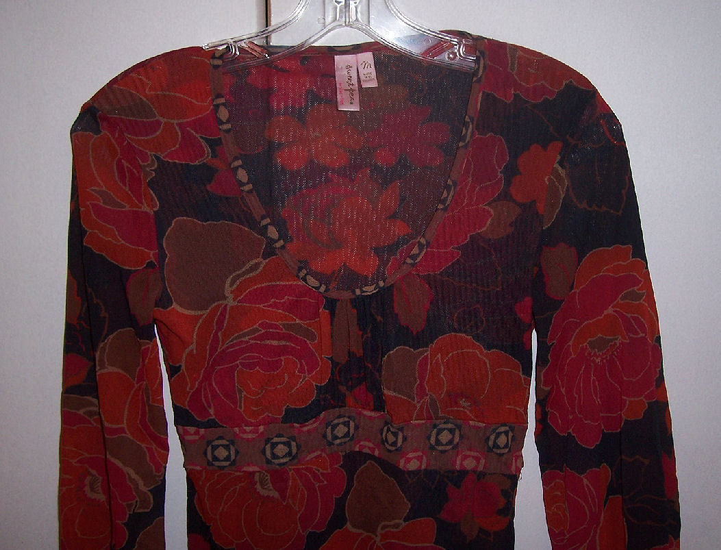Sweet Pea Stacy Frati Purple Pink Floral Empire Scoop Neck Tunic Top Sz Med EUC