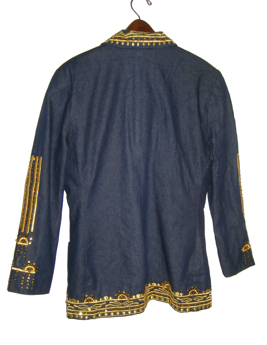 Gorgeous NWOT Denim Skirt Suit with Gold Embellishments by EXIT SHOPS Size L/M