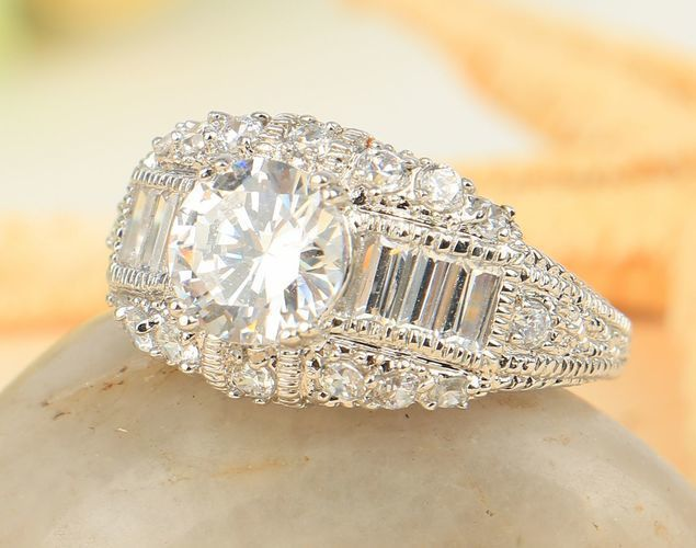 Ring Size 7 White CZ for Engagement 925 Sterling Silver Brand New Great Gift!