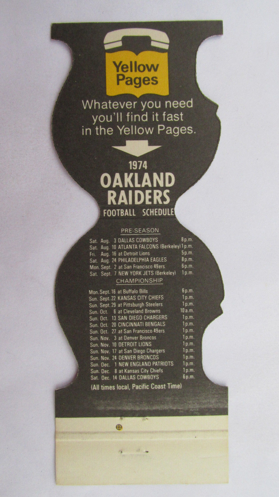 Oakland Raiders 1974 Schedule Football Sport DieCut Matchbook Cover Yellow Pages
