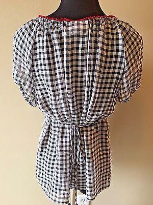 Dress Barn Petite Black White Red Check Tassel Tie Tieback Sheer Top size PL S6