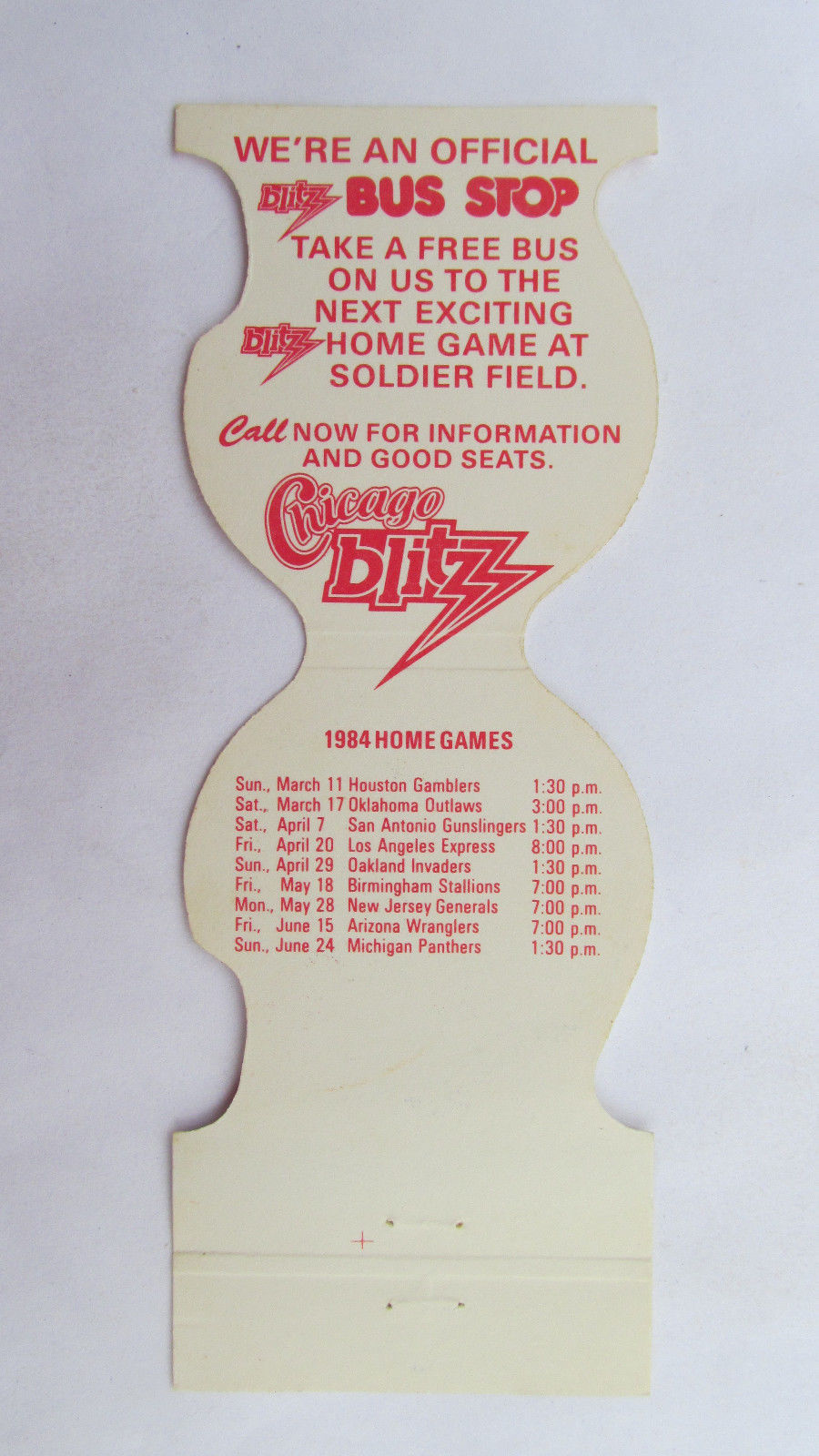Chicago Blitz 1984 Games Football Sport Matchbook Cover TC Mulligans Bus Stop IL
