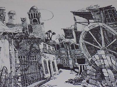 Unique Vintage R GARNETT Signed 99/250 Black White Art Print Old City Mill Top