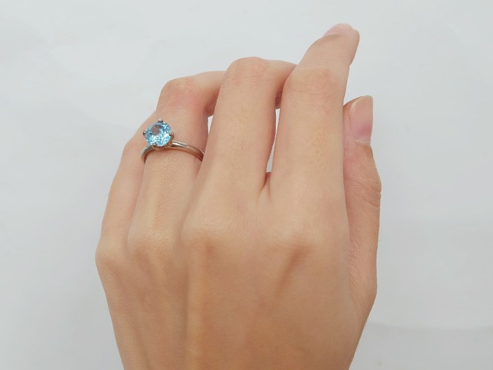 """SOVATS SOLITAIRE RING """"BLUE TOPAZ"""""""