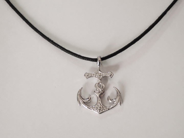 SOVATS BLACK ANCHOR CORD NECKLACE