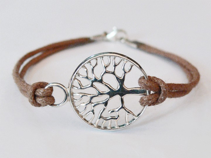 SOVATS BEIGE TREE OF LIFE CORD BRACELET