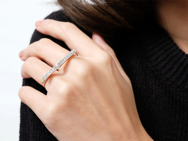 SOVATS DOUBLE FINGER BAND RING CZ