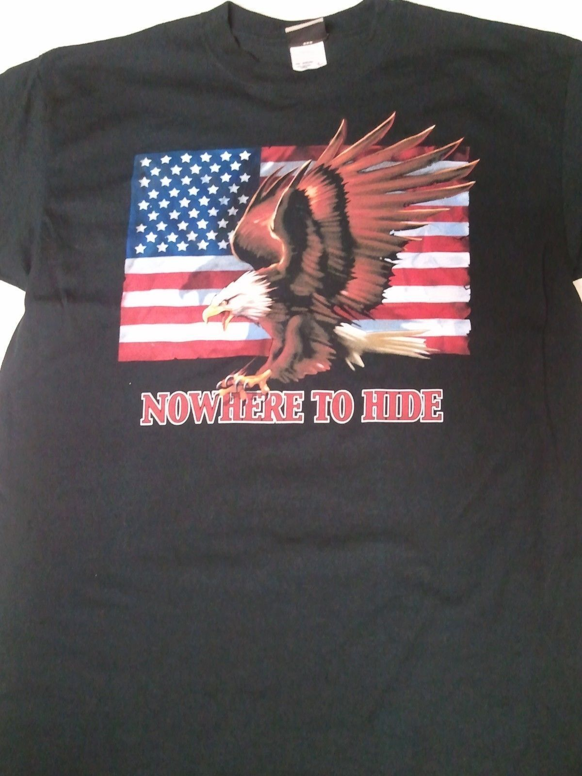 (PM12) EAGLE AMERICAN FLAG Liquid Blue L or XL Tshirt Nowhere To Hide 100%Cotton