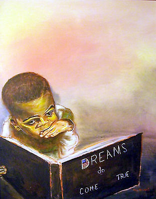 "ORIGINAL ACEO African American Art ""Dreams Do Come True"" -: rdoward fine art"
