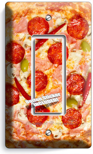 PEPPERONI PIZZA PIE SINGLE GFI LIGHT SWITCH WALL PLATE DINING ROOM KITCHEN DECOR