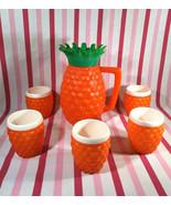 AWESOME Vintage Minerware 6pc Orange Plastic Tiki Pineapple Pitcher and ... - $58.00