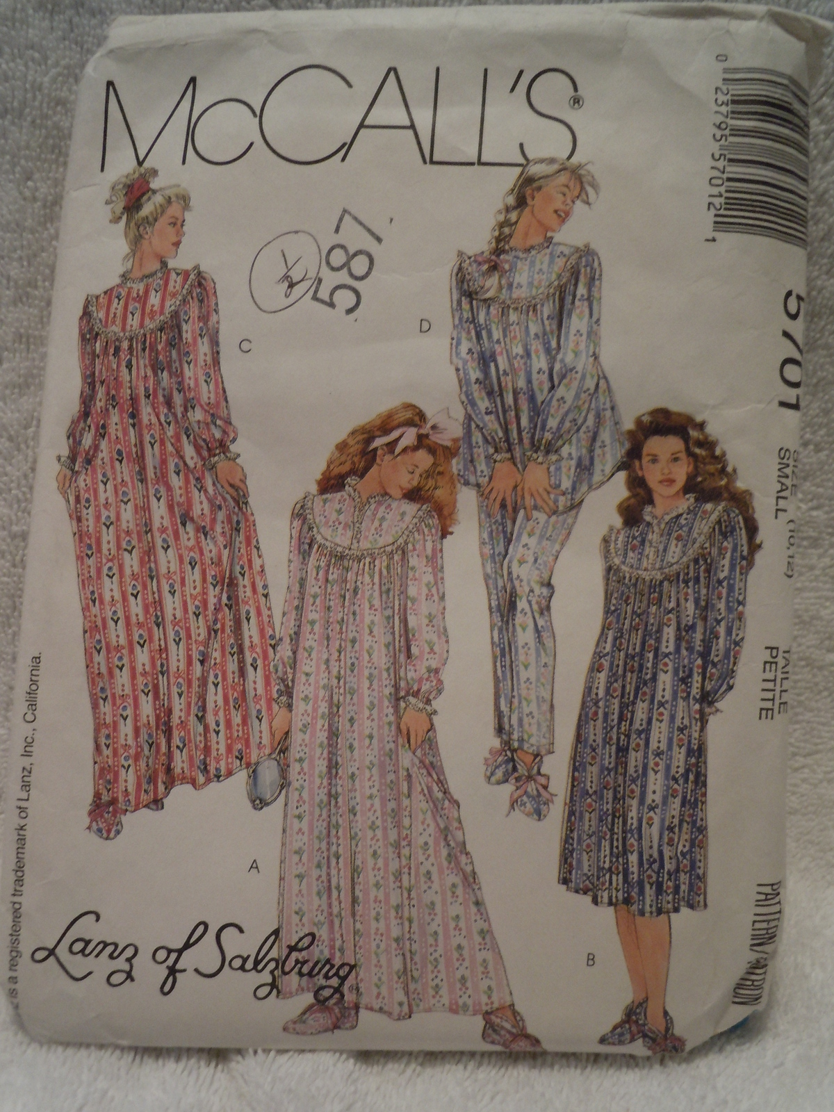 McCall's Misses Size Small 10 12 Sleepwear and Booties 1991 Pattern 5701