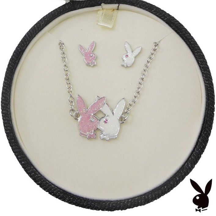 Playboy Jewelry Set Bunny Necklace Earrings Pink White Kissing Bunnies Box RARE