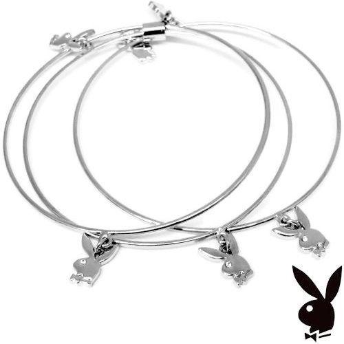 Playboy Bangle Bracelets Bunny Charms Swarovski Crystals Silver Plated 3 Bangles - $19.69