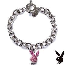 Playboy Bracelet Pink Enamel Bunny Logo Charm Swarovski Crystals Toggle ... - £11.70 GBP