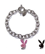 Playboy Bracelet Pink Enamel Bunny Logo Charm Swarovski Crystals Toggle ... - $14.69