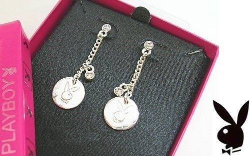 1bae5357c S l1600. S l1600. Previous. PLAYBOY Earrings Bunny Logo Medallion Charms  Swarovski Crystals Dangles Gift Box