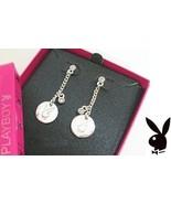 PLAYBOY Earrings Bunny Logo Medallion Charms Swarovski Crystals Dangles ... - $14.69