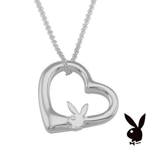 Sterling Silver Playboy Necklace Bunny Floating Heart Pendant Authentic RARE HTF