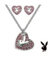 Playboy Jewelry Set Necklace Earrings Bunny Heart Pink Swarovski Crystal... - $29.69
