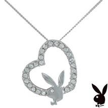 Sterling Silver Playboy Necklace Bunny Heart Pendant Swarovski Crystals ... - $29.69
