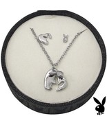 Playboy Jewelry Set Necklace Earrings Heart Bunny Platinum Plated Jewelr... - $29.69