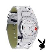 Playboy Watch ACES Bunny Logo Playing Cards Leather Band Teens Licensed ... - $49.69