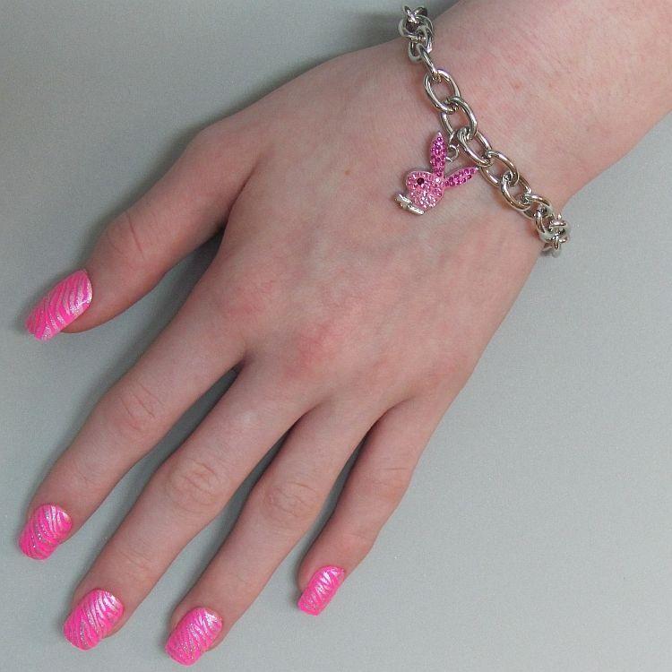 Playboy Bracelet Pink Enamel Bunny Logo Charm Swarovski Crystals Toggle RARE HTF