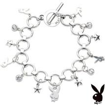 Playboy Bracelet Bunny Charm Stars Swarovski Crystals Toggle Clasp Plati... - £10.03 GBP