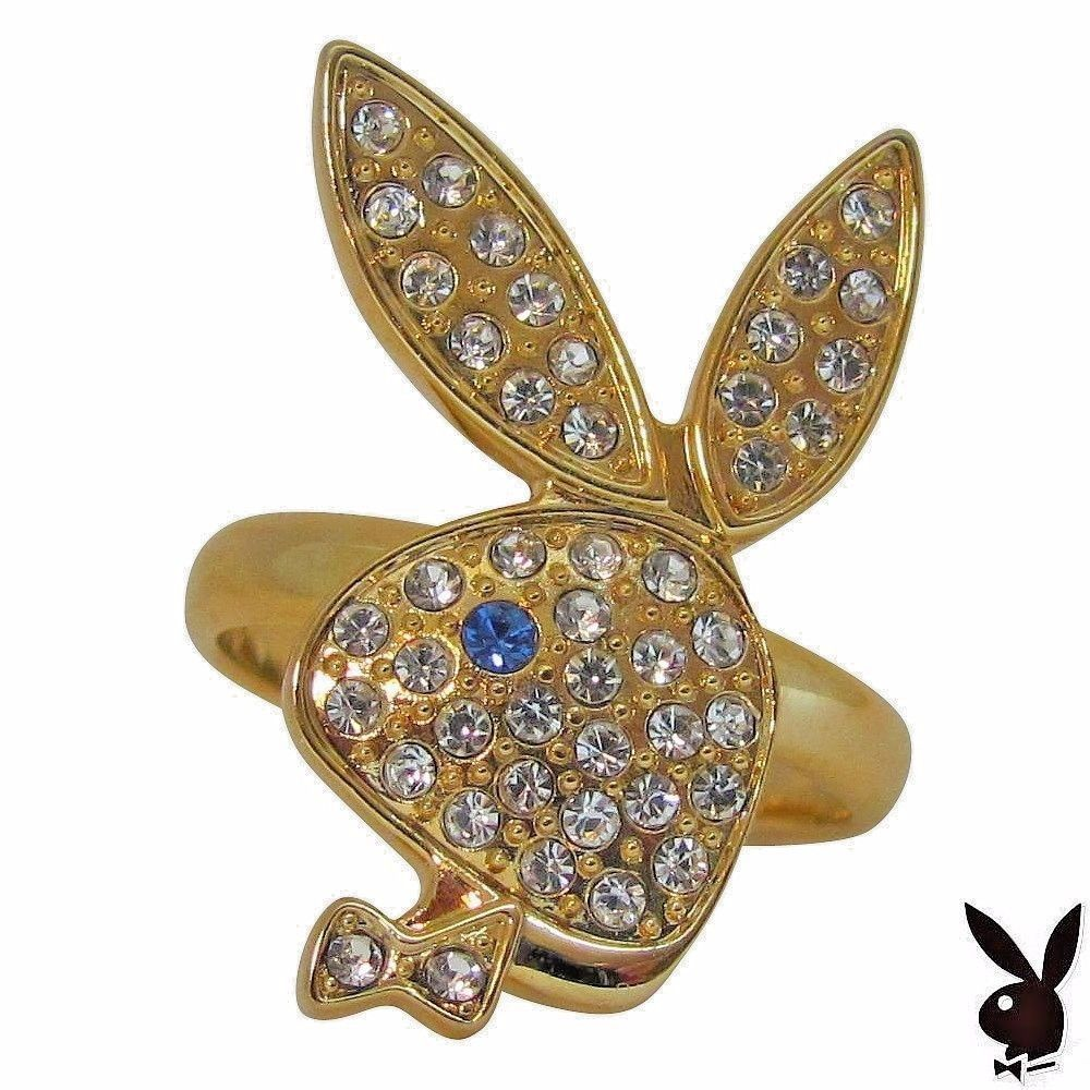 Playboy Ring Bunny Logo Swarovski Crystals Gold Plated Adjustable Size 5.5 to 9