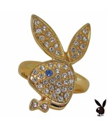 Playboy Ring Bunny Logo Swarovski Crystals Gold Plated Adjustable Size 5... - $14.69