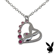 Playboy Necklace Bunny Open Heart Pendant Charm Pink Swarovski Crystals ... - $14.69