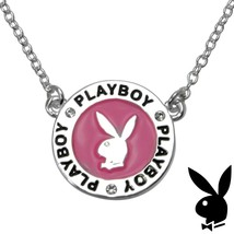 Playboy Necklace Bunny Charm Pink Enamel Medallion Pendant Swarovski Cry... - $14.69