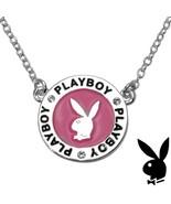Playboy Necklace Bunny Charm Pink Enamel Medallion Pendant Swarovski Cry... - $14.69