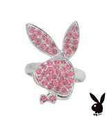Playboy Ring Bunny Logo Pink Swarovski Crystals Adjustable Size 5.5 - 9 ... - $14.69