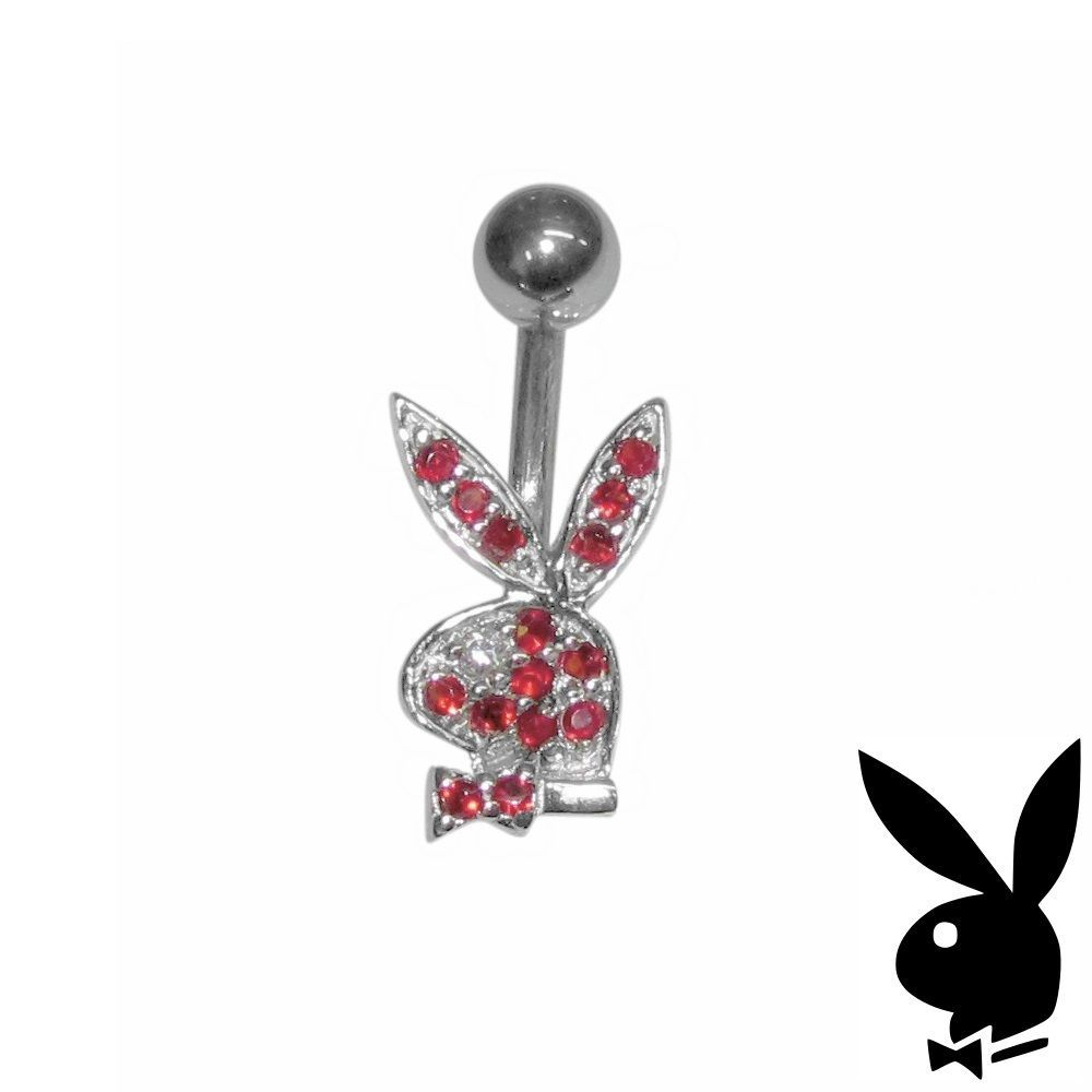 Playboy Belly Ring Sterling Silver Bunny Red Crystals Surgical Steel Barbell HTF