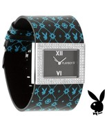 Playboy Watch Bunny Black Leather Band Swarovski Crystals Stainless Stee... - $49.69