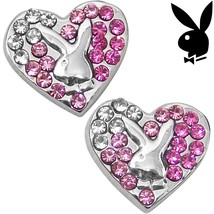 Playboy Earrings Bunny Heart Studs Pink Swarovski Crystals Platinum Plat... - $14.69
