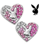 Playboy Earrings Bunny Heart Studs Pink Swarovski Crystals Platinum Plat... - $12.69