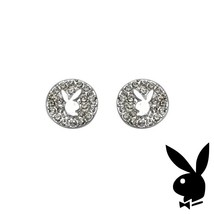 Playboy Earrings Bunny Logo Swarovski Crystals Round Studs Platinum Plat... - $14.69