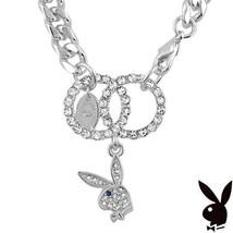 Playboy Bracelet Interlocking Infinity Circles Swarovski Crystal Bunny Charm HTF - $24.69