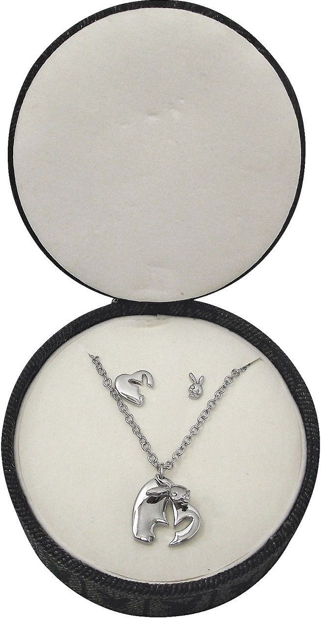 Playboy Jewelry Set Necklace Earrings Heart Bunny Platinum Plated Jewelry Box