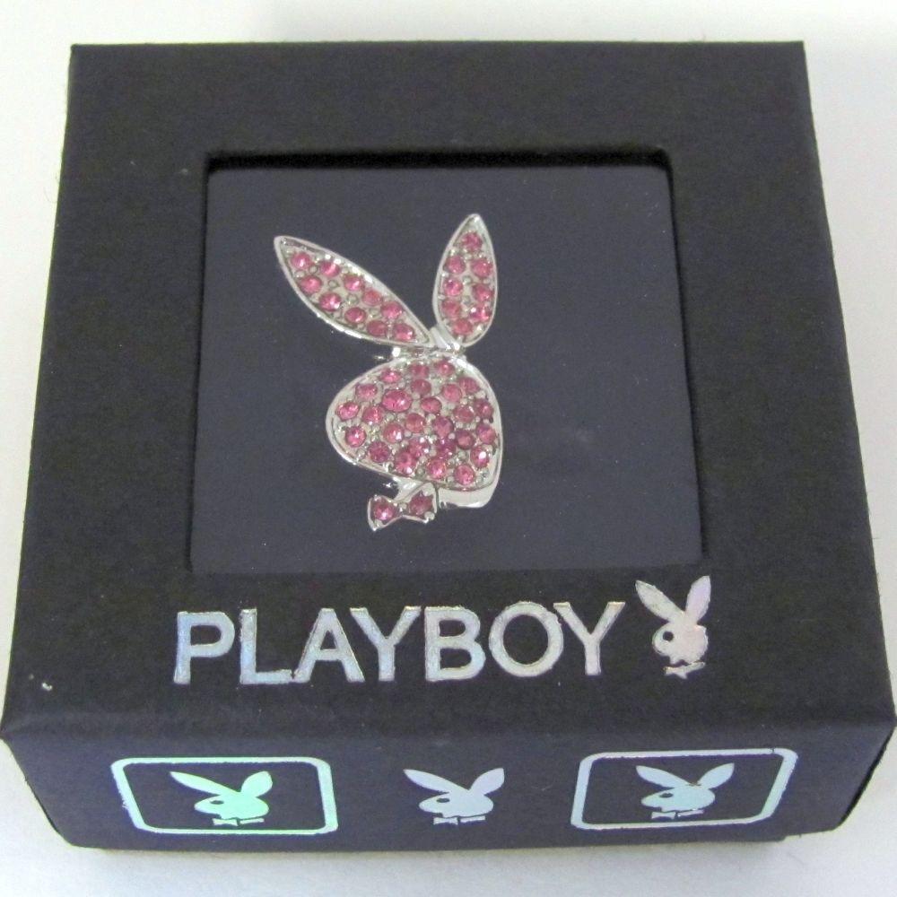 Playboy Ring Bunny Logo Pink Swarovski Crystals Adjustable Size 5.5 - 9 Licensed